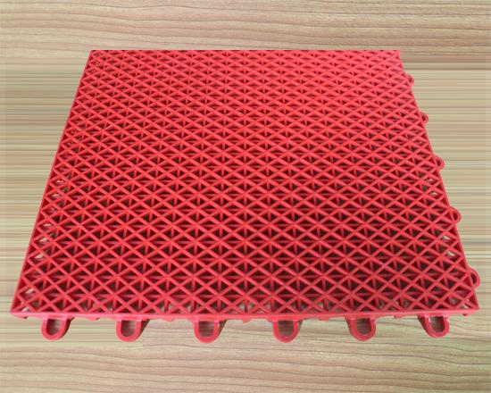 红色米字格双层运动地板